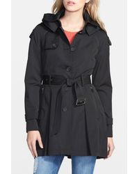 French Connection - Black Detachable Hooded Trench Coat - Lyst