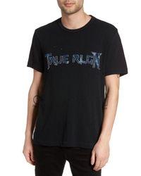 True Religion - Black Denim Applique Logo T-shirt for Men - Lyst