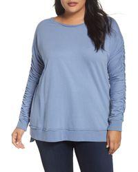 Caslon - Blue Scrunch Sleeve Sweatshirt (plus Size) - Lyst