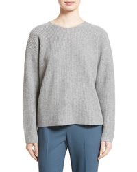 Theory | Gray Twylina Split Back Cashmere Sweater | Lyst