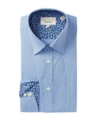 Ted Baker - Blue Micro Check Trim Fit Dress Shirt for Men - Lyst