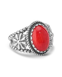 Carolyn Pollack - Sterling Silver Red Coral Oval Ring - Lyst