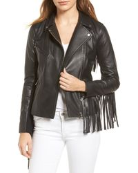 Trouvé | Black Trouv? Fringe Moto Leather Jacket | Lyst