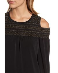 MICHAEL Michael Kors - Black Metallic Smocked Yoke Top - Lyst