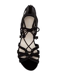 Kenneth Cole - Black Villa Caged Lace-up Sandal - Lyst
