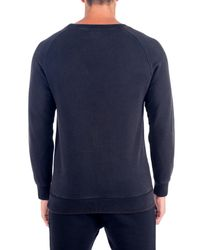 Unsimply Stitched - Blue Stone Washed French Terry Relaxed Neck Crew Sweater for Men - Lyst