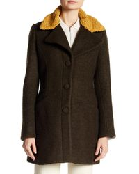 Laundry by Shelli Segal - Green Fit & Flare Faux Shearling Trim & Lining Wool Blend Coat - Lyst