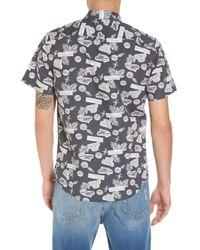 The Rail - Gray Short Sleeve Print Poplin Shirt for Men - Lyst