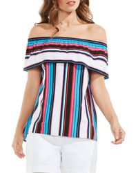 Vince Camuto - Blue Stripe Off The Shoulder Blouse - Lyst