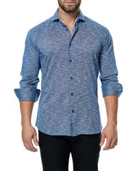 Maceoo Blue Einstein Camouflage Trim Fit Sport Shirt for men
