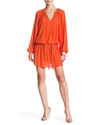Ramy Brook Red Paris Long Sleeve Drop Waist Dress