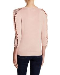 Philosophy Apparel - Pink 3/4 Length Ruffle Sleeve Sweater - Lyst