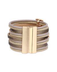 Saachi - Gold Metallic Allure Leather Bracelet - Lyst