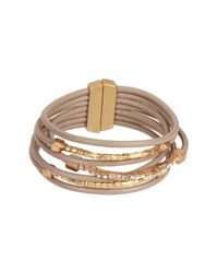 Saachi - Multicolor Taupe Genuine Leather Twisted Crystal Bracelet - Lyst