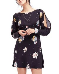 Free People - Black Long Sleeve Floral Print Dress - Lyst