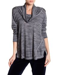 Allen Allen - Gray Long Sleeve Cowl Neck Sweater - Lyst