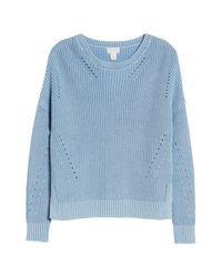 Caslon - Blue (r) Shaker Stitch Cotton Sweater - Lyst