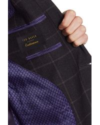 Ted Baker - Jarrett Gray Windowpane Two Button Notch Lapel Wool Trim Fit Sport Coat for Men - Lyst