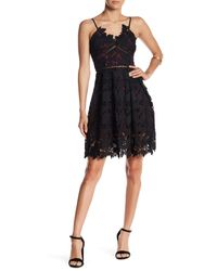 Romeo and Juliet Couture - Black Woven Sleeveless Lace Mini Dress - Lyst