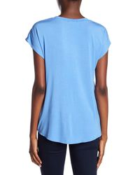 Cable & Gauge - Blue Twist Front Scoop Neck Solid Tee - Lyst