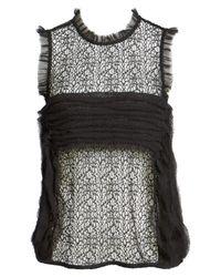 Trouvé - Black Chiffon & Lace Top - Lyst