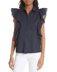 Kate Spade - Blue Flutter Sleeve Button Down Cotton Blouse - Lyst