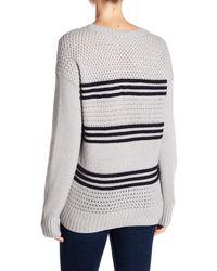 FRAME Blue Basket Weave Wool Blend Sweater