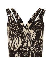TOPSHOP - Black Tiger Print Crop Top - Lyst