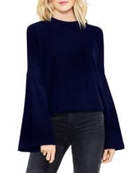 Vince Camuto - Blue Mock Neck Bell Sleeve Blouse (petite) - Lyst
