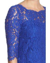 Eliza J - Blue Floral-Lace Tulip Dress - Lyst