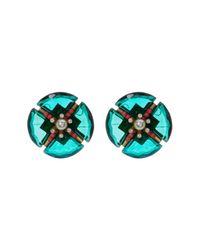 Loren Hope - Green Geometric Stone & Pearl Stud Earrings - Lyst