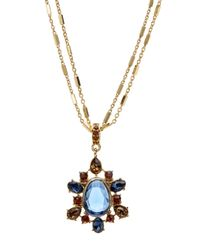 Carolee - Metallic Cluster Pendant Double Strand Necklace - Lyst