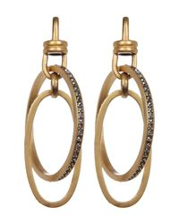 Paige Novick - Metallic Pave Interlock Circle & Oval Drop Earrings - Lyst