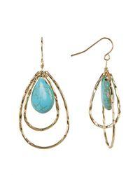 Cara - Blue Oval Double Hoop Turquoise Dangle Earrings - Lyst