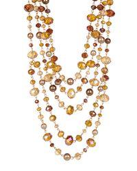 Carolee - Metallic 5 Row Beaded Necklace - Lyst