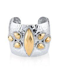 1928 - Metallic Two-tone Wide Cuff Bracelet - Lyst