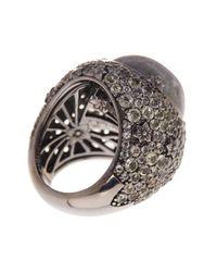 Stephen Dweck | Metallic Sterling Silver Cabochon Labradorite & Pave Lemon Quartz Detail Ring - Size 6 | Lyst