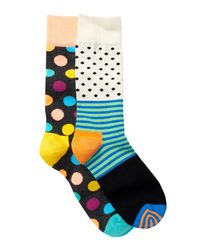 Happy Socks - Blue Combed Cotton Crew Socks - Pack Of 2 for Men - Lyst