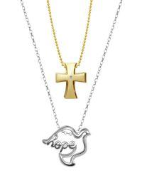 Alex Woo - Metallic Little Faith Sterling Silver Hope Dove Pendant & 14k Yellow Gold Diamond Detail Cross Pendant 2-piece Necklace Set - 0.01 Ctw - Lyst