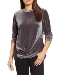 Halogen - Multicolor Twist Front Velvet Top - Lyst