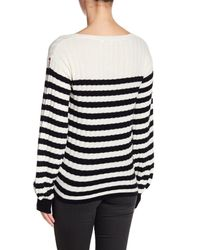 Pam & Gela - Black Destroyed Striped Rib Wool Blend Sweater - Lyst