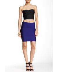 Wow Couture - Blue Solid Bodycon Mini Skirt - Lyst