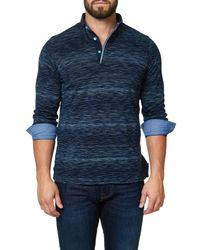 Maceoo - Blue Slim Fit Woven Trim Long Sleeve Polo for Men - Lyst