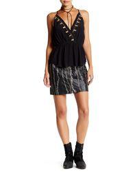 Free People   Black Obsessed Genuine Leather Mini Skirt   Lyst