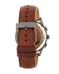 MICHAEL Michael Kors - Brown Men's Gareth Chronograph Leather Strap Watch for Men - Lyst