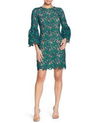 Dress the Population - Green Crochet Shift Dress - Lyst