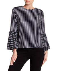 Haute Rogue - Blue Bell Sleeve Striped Top - Lyst