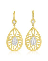 Genevive Jewelry - Metallic Gold Plated Sterling Silver White Topaz Pear Shape Euro Earrings - Lyst