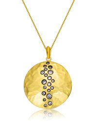 Genevive Jewelry - Metallic Gold Plated Sterling Silver Cz Tiny Circles Hammered Pendant Necklace - Lyst