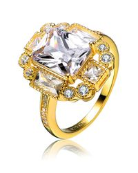 Genevive Jewelry | Metallic Gold Plated Sterling Silver Square Cz Ring | Lyst